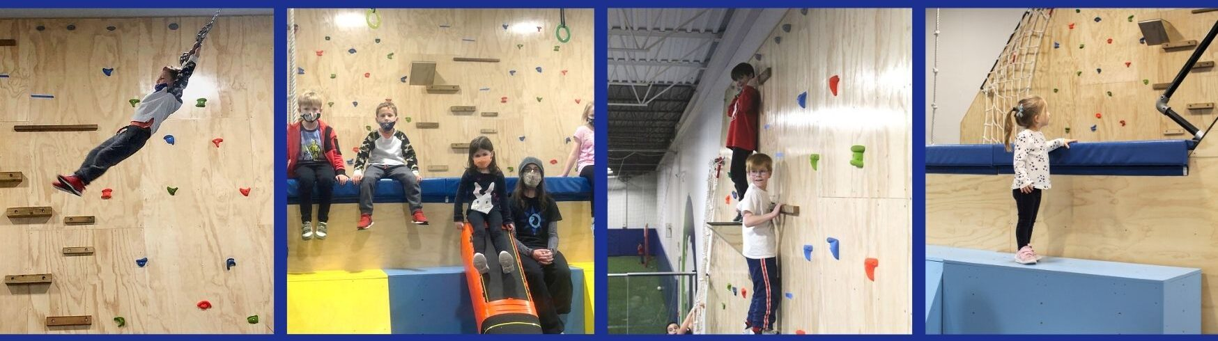 various pictures of parkour activities with children