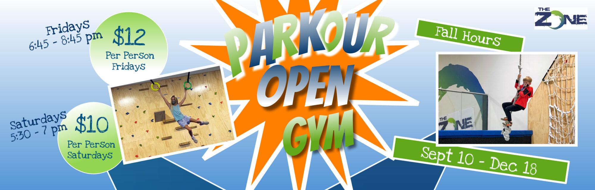 parkour open gym info